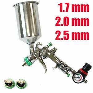 1.7 2.0 2.5mm HVLP Paint Spray Gun Gravity Fed 1L Aluminium Cup w/ Air Regulator