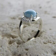 Size 7 3/4, Size P, Size 56, Blue LARIMAR Ring, w/ CZ, 925 STERLING SILVER #0481