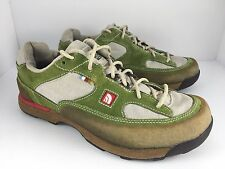 The North Face Women US 9.5 Green White Brown Suede Hiking Trail Shoes  J6