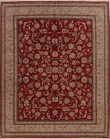 Floral Aubusson China Hand-Knotted Area Rug RED Wool Dining Room Carpet 8x10