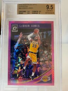 2018-19 Lebron James Optic Hyper Pink Lakers BGS 9.5
