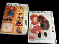 2 McCall's Patterns Annie & Dog- & Clothes &Tote #8118 #8132 UNCUT 1983