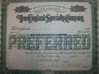 NEW ENGLAND SPECIALTY SUPPLY CO. $10 STOCK CERTIFICATE. 1901