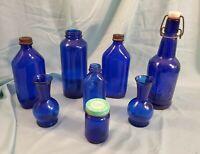 Vtg Antique Lot 8 Cobalt Blue Bottles & Vases Vicks Milk Of Mag CZ Cap Wire...