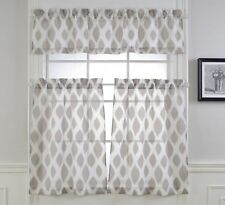 Mysky Home Fashion 3 Pieces Jacquard Kitchen Sheer Tier Curtains and Valance