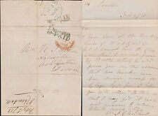 GB QV 1851 LONDON RECEIVING HOUSE in GREEN...SHOREDITCH 1d PAID to DEVON