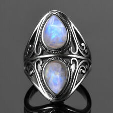 925 Silver Natural Rainbow Double Moonstone Hollow Design Fashion Ring Wholesale