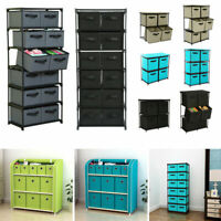 Storage Rack With Foldable Fabric Storage Bins Drawer Basket Household Organizer