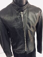 Vtg 50's Men Black Leather CAFE RACER Motorcycle Jacket SPORTSTER Steerhide Coat