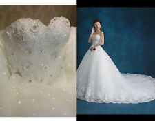 UK Plus Size White Ivory Strapless Beaded Lace A Line Wedding Dress Size 6-22