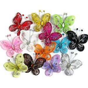 "20/50/100PCS 2"" Organza Butterflies Wedding Butterfly /Party Decoration 14 Color"