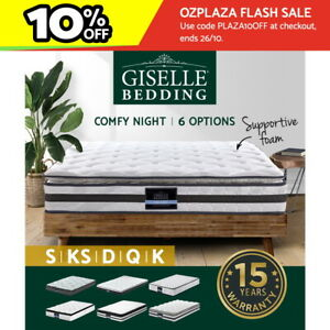 Giselle Mattress Queen Double King Single Bed Firm Spring Foam Pillow Euro Top