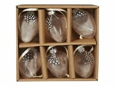 6 Eier Glaseier Ostereier mit FEDERN Osterdeko Ostern Hänger Perlhuhn