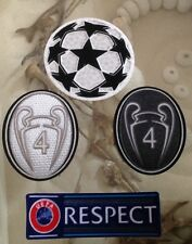 Set Of UCL UEFA Champions League Respect Star Ball Trophy 4 Silver Patch Badge