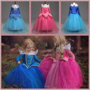 Cinderella Aurora Girls Princess Costume Dress Fairy Tale Dress Up Skirts 3-9 T