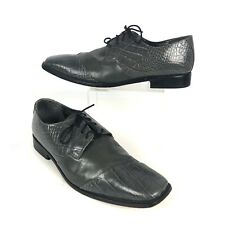 Stacy Adams 12w Men's Animal Print Shoes Gray Leather Lace Up Dress Formal