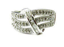 14k White Gold Round and Baguette Diamond Ladies Cocktail Ring ~ 3.7g