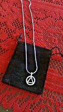 AA Alcoholics Anonymous necklace 925 sterling silver chain w/charm in pouch 18""