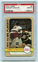 1972-73 Topps #5 Playoff Game 4 Bruins Rangers 2 Graded 9.0 MINT (2021-49)
