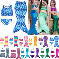 Kids Girls Mermaid Tail Bikini Sets Swimwear Swim Cosplay Costume Age 2-11 Years