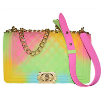 Colorful Bag Ladies Shoulder Jelly Bag PVC Fashion Handbags Color Matte Rhombic