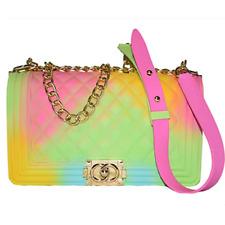 Colorful Bag Ladies Shoulder Jelly Bag PVC Fashion Handbags Color Matte Rhombic