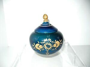Vintage Wooden Lidded Round Box Hand Carved Floral Design Blue Color Wood