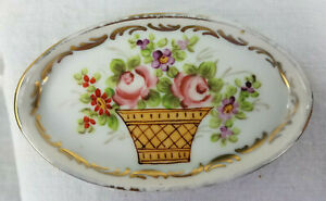 Vintage Pin tray with floral design and gold trim France JTP Chanele 2.5 x 4 in