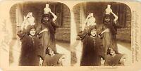 EGYPTE Assiout Femmes Porteuses d'Eau, Photo Stereo Vintage Albumine PL62L3
