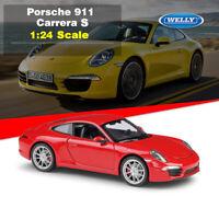 WELLY Diecast Model Porsche 911 Carrera S 991 Super Sports Car in 1:24 Scale Red
