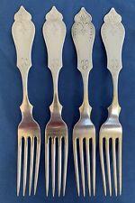 """4 Coin Silver 7 5/8"""" Dinner Forks Duhme & Co Cincinnati Ohio Silversmith"""