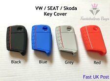 VAG : VW Seat Skoda Key Cover Flip Key Fob Case Skin Silicone Rubber Mk7 Golf UK