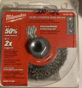 """Milwaukee - 48-52-1325 - 4"""" Bevel Crimped Wire Brush - Hyper Wire"""