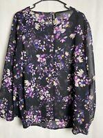 Ava & Viv™ Women's Plus Size 1X Floral Print Long Sleeve Chiffon Blouse 4736
