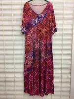 Women's Soft Surroundings Mixed Media Dress Multi-Color Viscose/Spandex