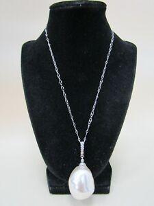 Vintage PM Majorica Sterling Silver Large Faux Baroque Pearl Pendant Necklace