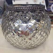 Vintage Silver Mercury Glass Candle Holder with Metal Lace Fretwork