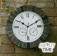 Slate Rustic Effect Garden Wall Clock Indoor Humidity Traditional Thermometer