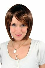 Bob Wig Brown Mix Curls Under Smooth Volume Short Hair Replacement 9 13/16in