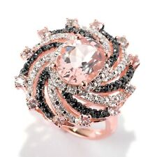 18K Rose Vermeil 2.9ctw Morganite, Black Spinel & White Zircon Swirl Ring, Size