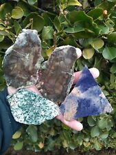 FOUR (4) UNKNOWN LAPIDARY SLABS BLUE LEPIDOLITE? SODALITE? GREEN METALLIC 13.6OZ