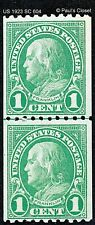 US 1923 B. FRANKLIN 1¢ JOINT LINE PAIR COIL SC 604 MHM OG P10 HZ  VERY FINE