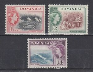 set of 3 mint QEII stamps from Dominica