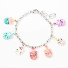 Claire's Girl's Silver Unicorn Donut Charm Bracelet Rainbow