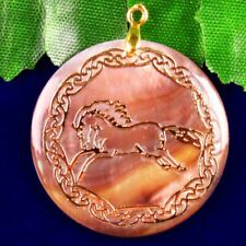 2pcs Natural Rainbow Abalone Shell Round Gold Horse Pendant Bead 30x4mm SH117