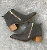 M&S Women Boots Size 5.5 Ankle Block Heel Round Toe Boot Leather Suede Grey