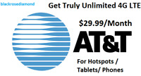 AT&T Unlimited Data 4G LTE Plan* $29.99 a month*For Hotspots / Tablets/ Phones