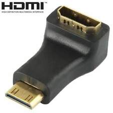 AMZER Gold Plated Mini HDMI Male to HDMI 19Pin Female Adaptor 90° Angle - Black
