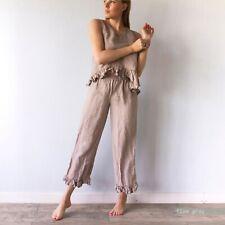 LINEN PAJAMAS for women, sleepwear 100% natural pure flax Sage green XL S M XXL