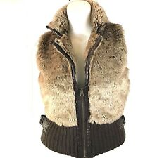 Charming Charlie Women's Sweater Vest Faux Fur Size Medium Waist Length